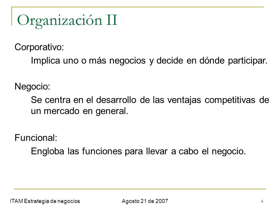 4 Organización II ITAM Estrategia de negociosAgosto 21 de 2007 Corporativo: Implica uno o más negocios y decide en dónde participar. Negocio: Se centr