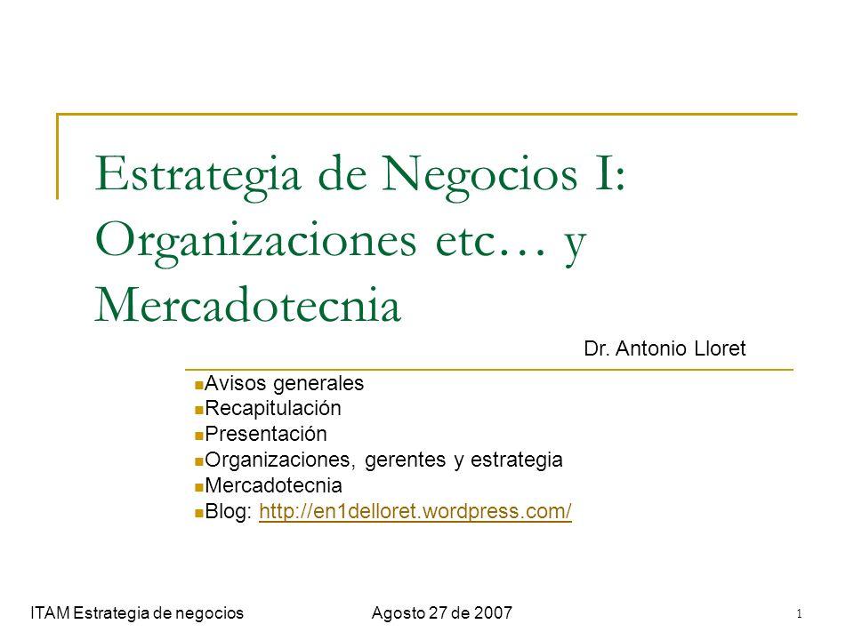 1 Estrategia de Negocios I: Organizaciones etc… y Mercadotecnia Avisos generales Recapitulación Presentación Organizaciones, gerentes y estrategia Mer