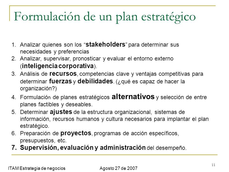 11 Formulación de un plan estratégico ITAM Estrategia de negociosAgosto 27 de 2007 1.Analizar quienes son los stakeholders para determinar sus necesid