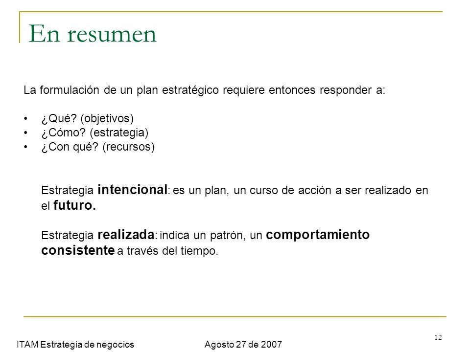 12 En resumen ITAM Estrategia de negociosAgosto 27 de 2007 La formulación de un plan estratégico requiere entonces responder a: ¿Qué? (objetivos) ¿Cóm