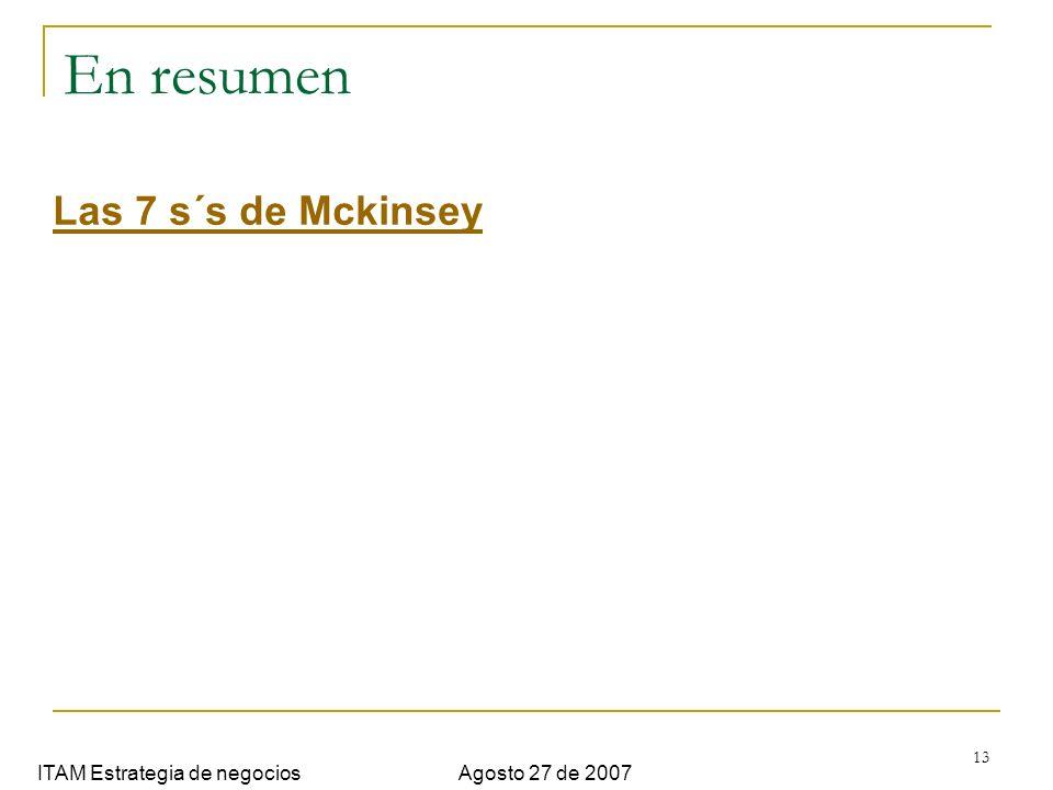 13 En resumen ITAM Estrategia de negociosAgosto 27 de 2007 Las 7 s´s de Mckinsey