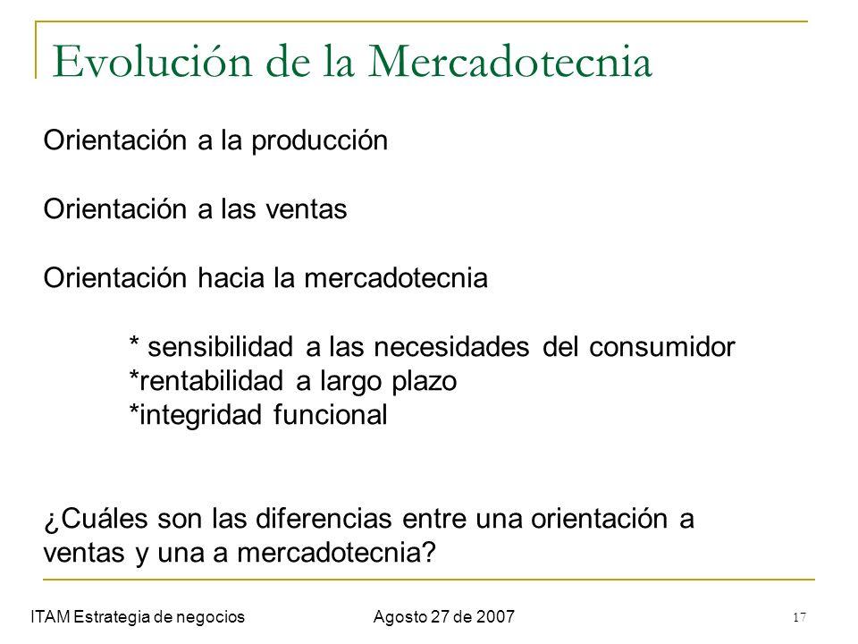 17 Evolución de la Mercadotecnia ITAM Estrategia de negociosAgosto 27 de 2007 Orientación a la producción Orientación a las ventas Orientación hacia l