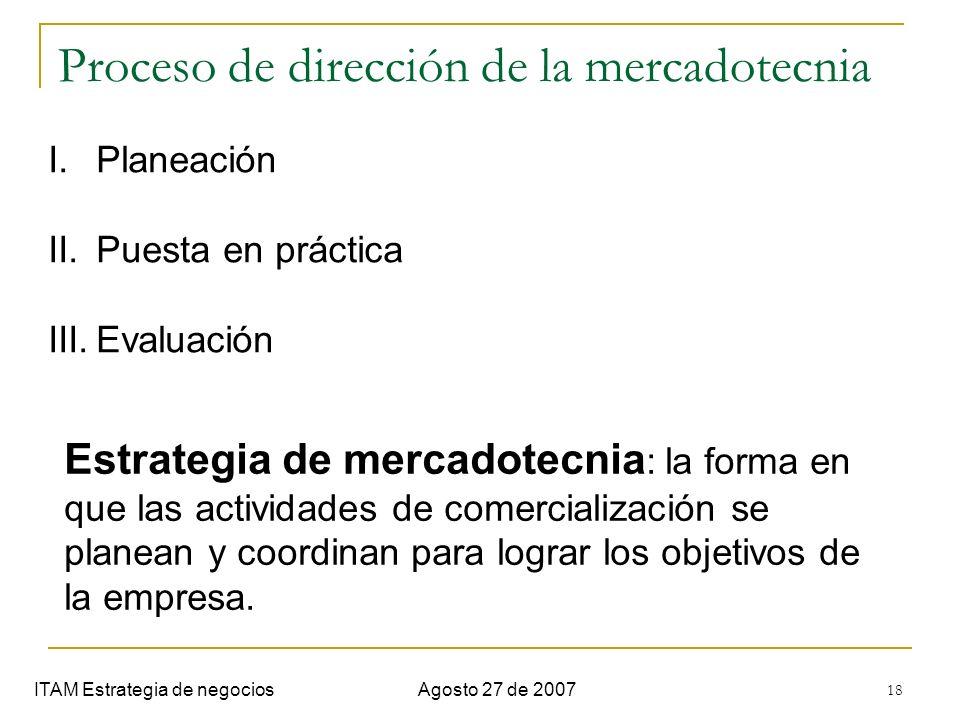 18 Proceso de dirección de la mercadotecnia ITAM Estrategia de negociosAgosto 27 de 2007 I.Planeación II.Puesta en práctica III.Evaluación Estrategia