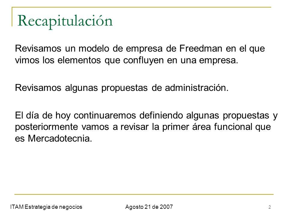 2 Recapitulación ITAM Estrategia de negociosAgosto 21 de 2007 Revisamos un modelo de empresa de Freedman en el que vimos los elementos que confluyen e