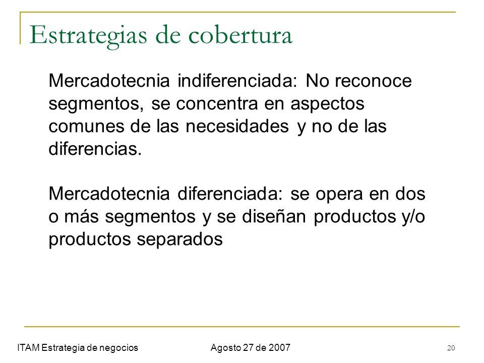 20 Estrategias de cobertura ITAM Estrategia de negociosAgosto 27 de 2007 Mercadotecnia indiferenciada: No reconoce segmentos, se concentra en aspectos