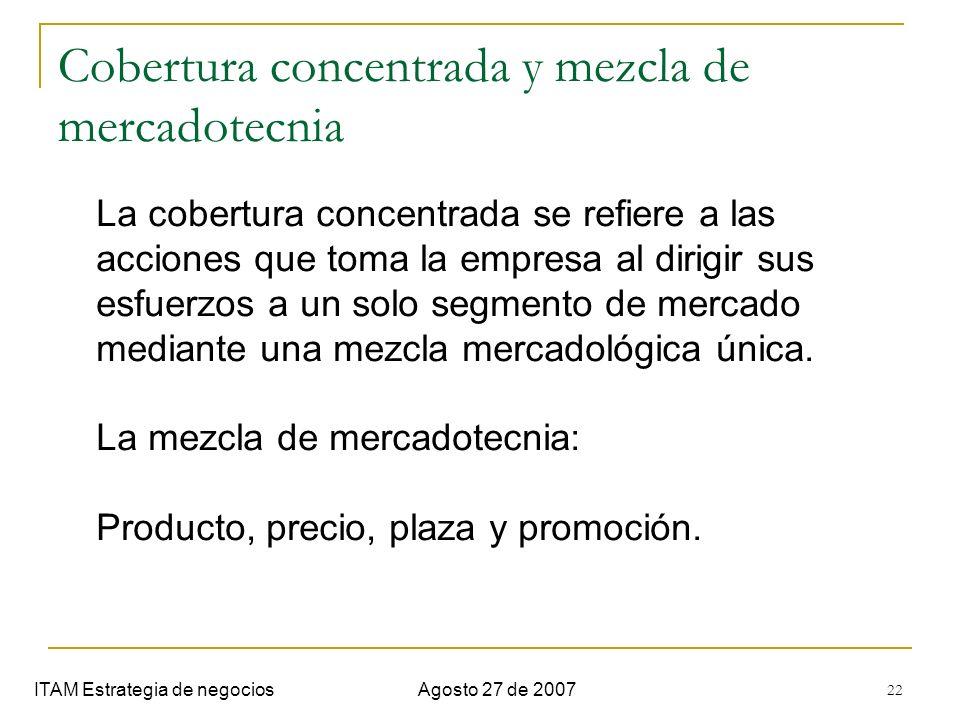 22 Cobertura concentrada y mezcla de mercadotecnia ITAM Estrategia de negociosAgosto 27 de 2007 La cobertura concentrada se refiere a las acciones que