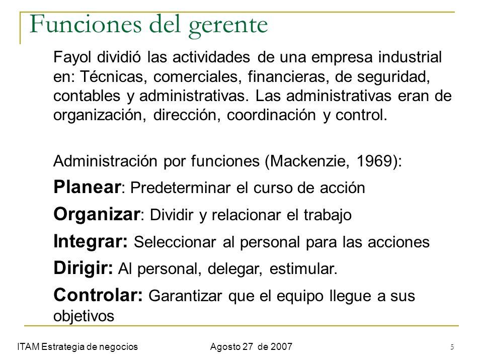 5 Funciones del gerente ITAM Estrategia de negociosAgosto 27 de 2007 Fayol dividió las actividades de una empresa industrial en: Técnicas, comerciales