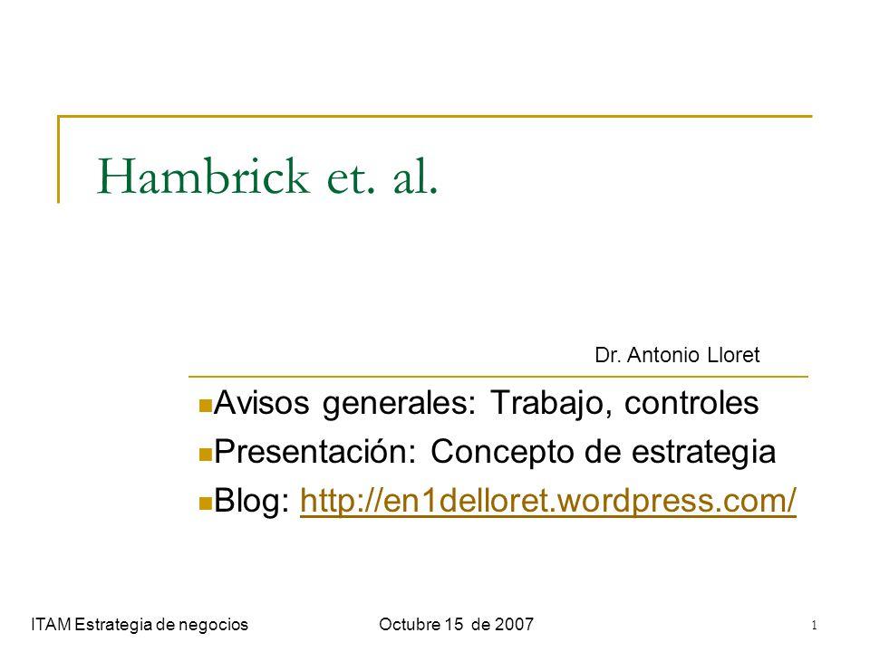 1 Hambrick et. al. Avisos generales: Trabajo, controles Presentación: Concepto de estrategia Blog: http://en1delloret.wordpress.com/http://en1delloret