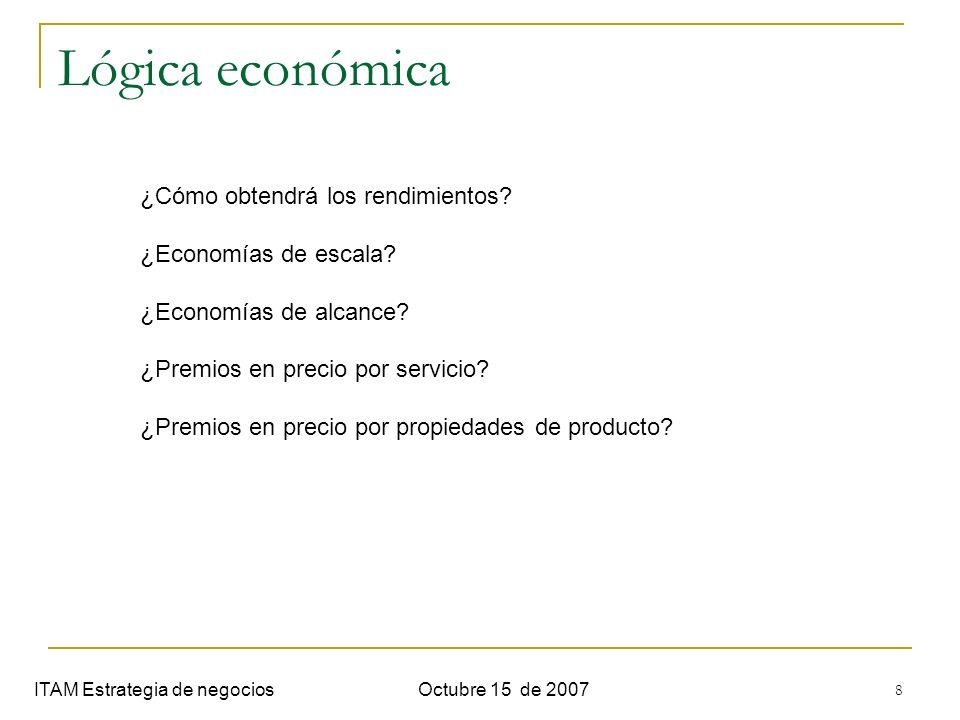 8 Lógica económica ITAM Estrategia de negociosOctubre 15 de 2007 ¿Cómo obtendrá los rendimientos? ¿Economías de escala? ¿Economías de alcance? ¿Premio