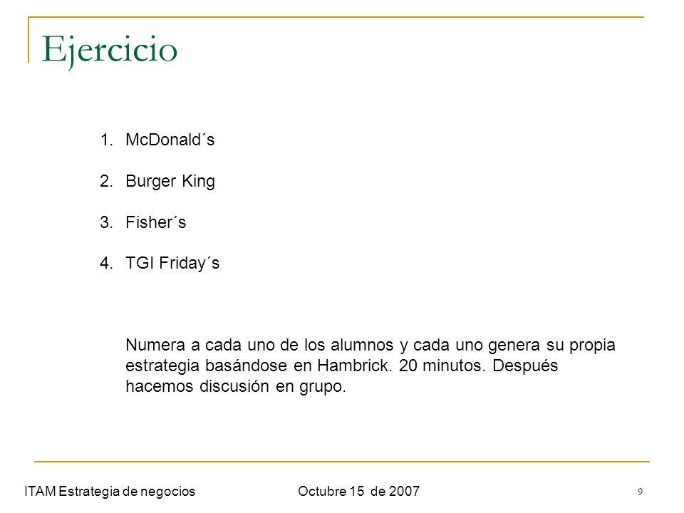 9 Ejercicio ITAM Estrategia de negociosOctubre 15 de 2007 1.McDonald´s 2.Burger King 3.Fisher´s 4.TGI Friday´s Numera a cada uno de los alumnos y cada