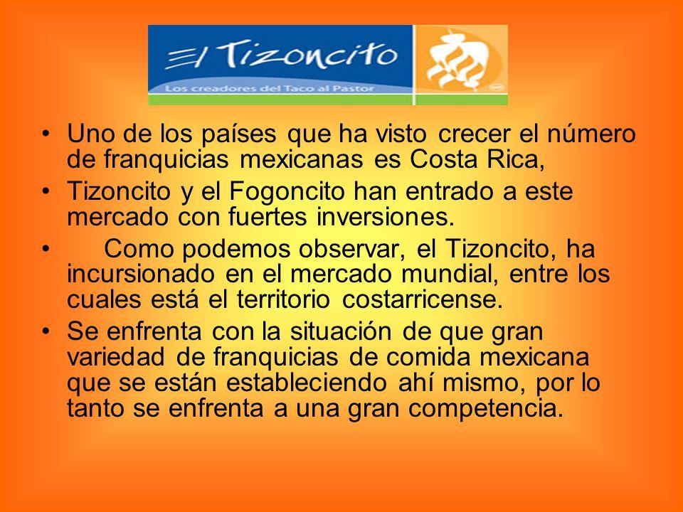 Uno de los países que ha visto crecer el número de franquicias mexicanas es Costa Rica, Tizoncito y el Fogoncito han entrado a este mercado con fuertes inversiones.
