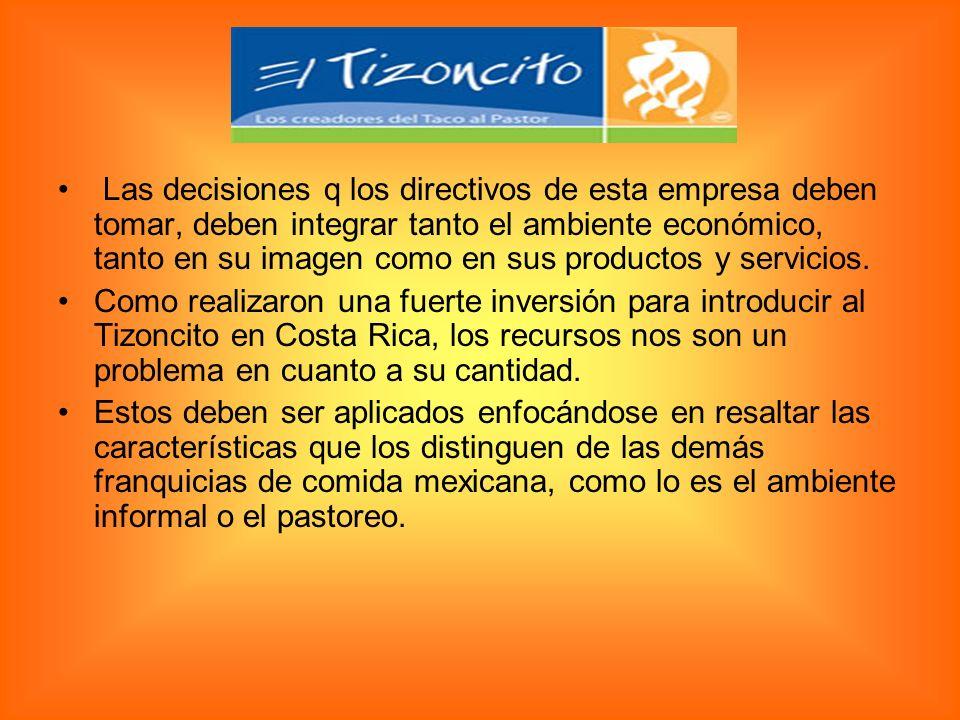 Las decisiones q los directivos de esta empresa deben tomar, deben integrar tanto el ambiente económico, tanto en su imagen como en sus productos y se