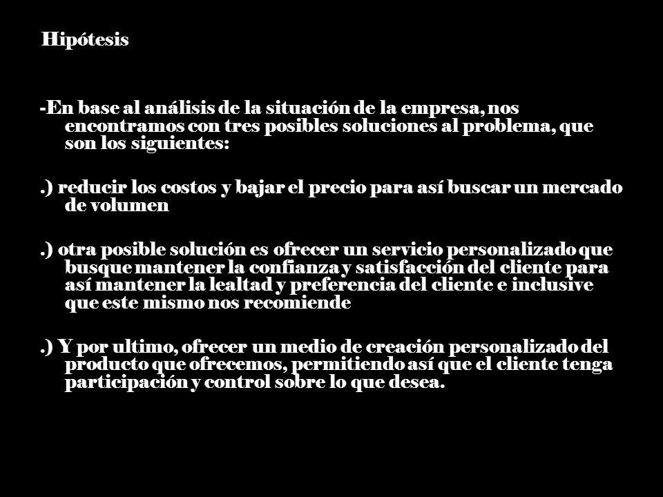 -Hipótesis -En base al análisis de la situación de la empresa, nos encontramos con tres posibles soluciones al problema, que son los siguientes:.) red