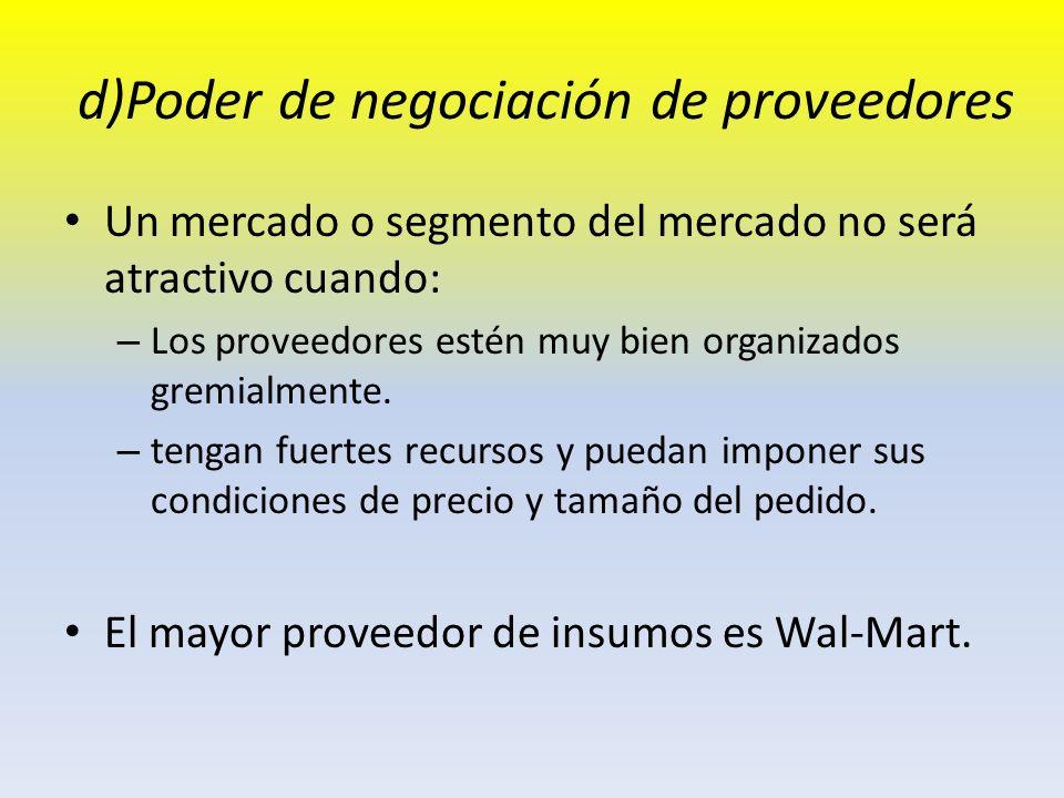 d)Poder de negociación de proveedores Un mercado o segmento del mercado no será atractivo cuando: – Los proveedores estén muy bien organizados gremial