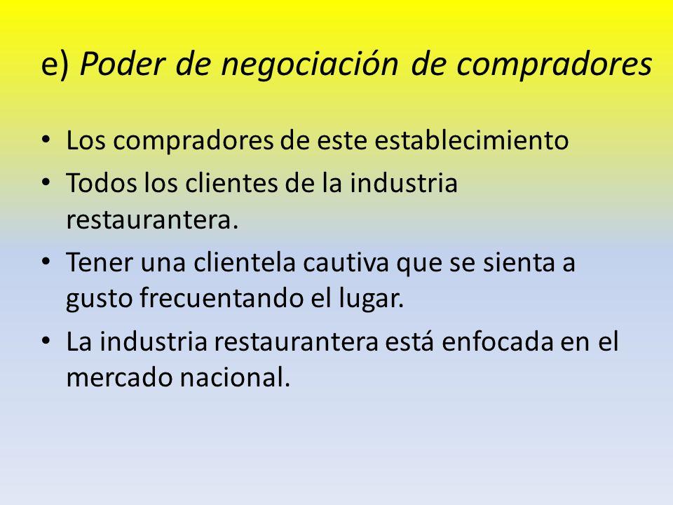 e) Poder de negociación de compradores Los compradores de este establecimiento Todos los clientes de la industria restaurantera. Tener una clientela c
