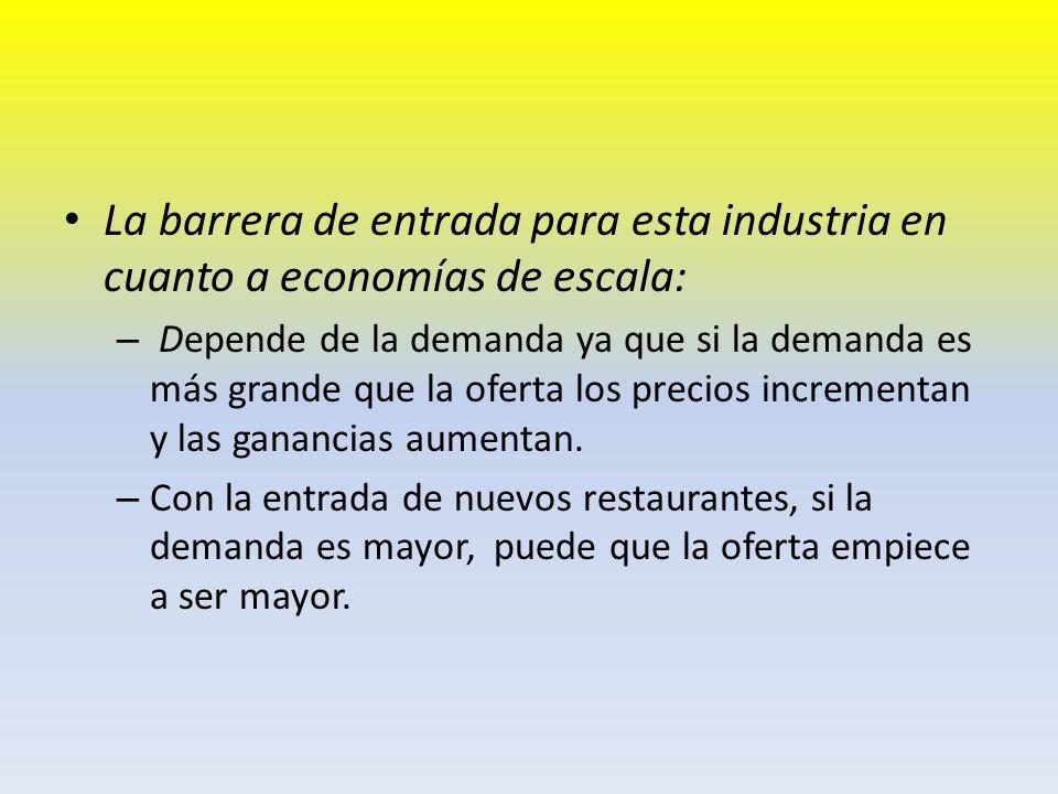 La barrera de entrada para esta industria en cuanto a economías de escala: – Depende de la demanda ya que si la demanda es más grande que la oferta lo