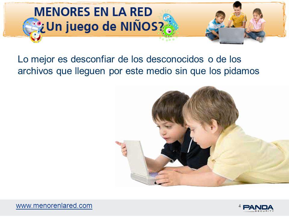www.menorenlared.com 4 Lo mejor es desconfiar de los desconocidos o de los archivos que lleguen por este medio sin que los pidamos
