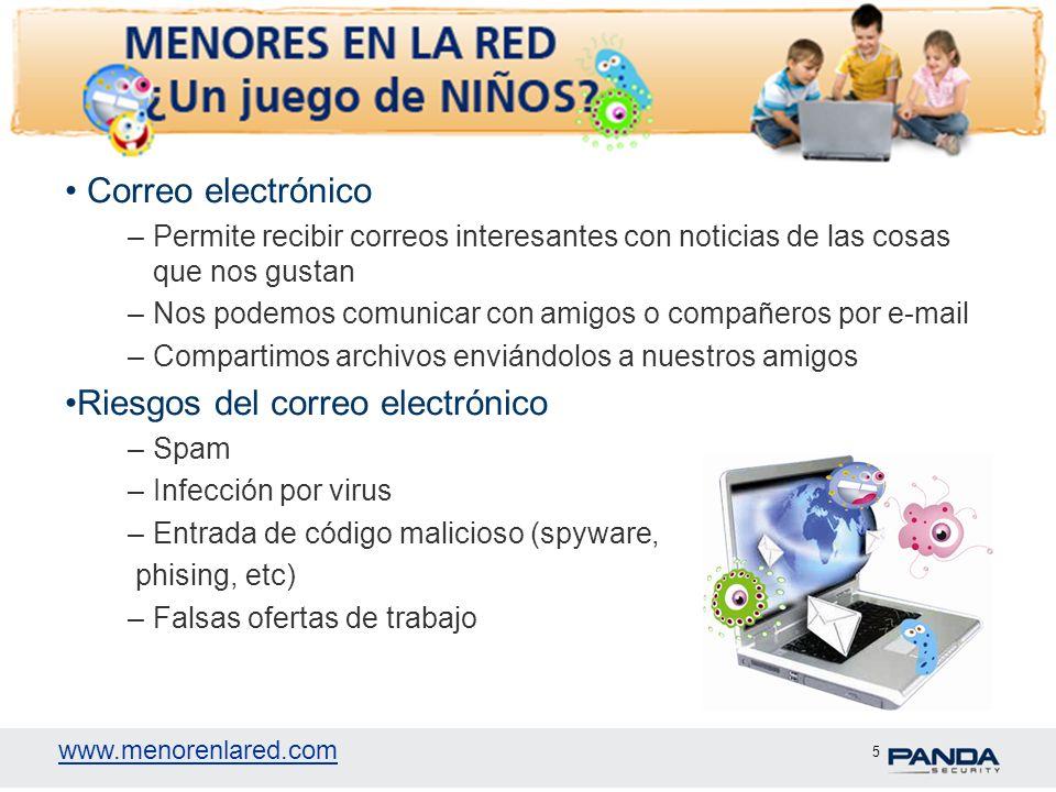 www.menorenlared.com 5 Correo electrónico –Permite recibir correos interesantes con noticias de las cosas que nos gustan –Nos podemos comunicar con am