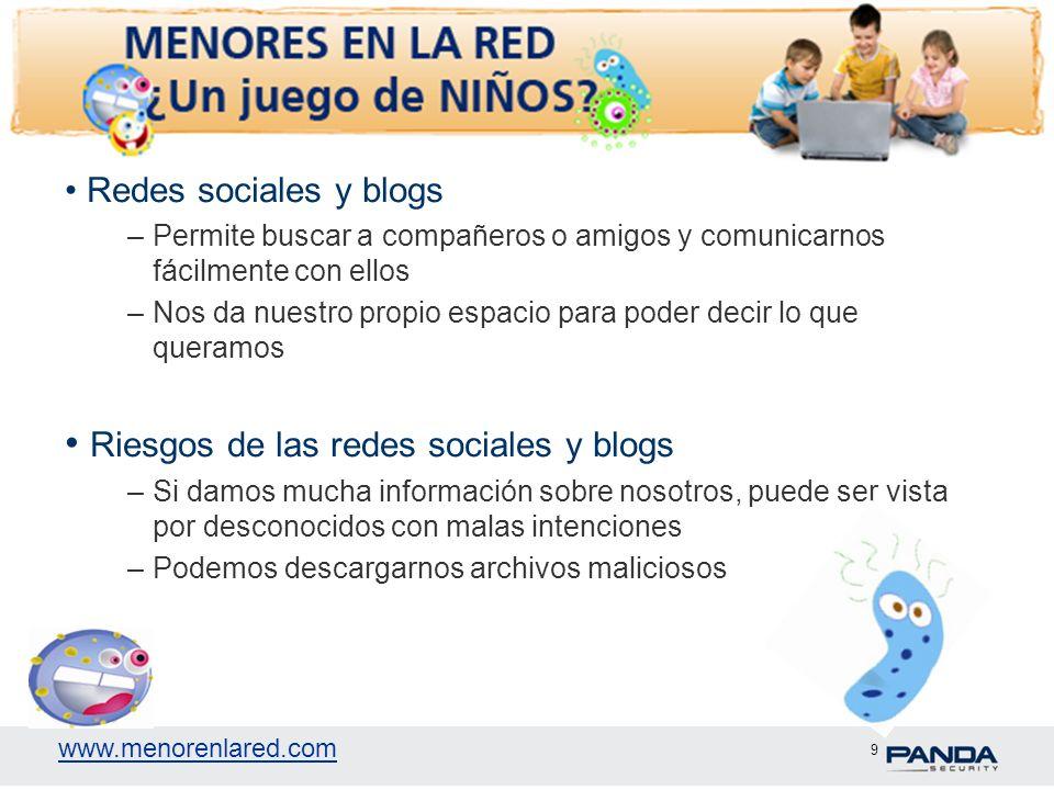 www.menorenlared.com 9 Redes sociales y blogs –Permite buscar a compañeros o amigos y comunicarnos fácilmente con ellos –Nos da nuestro propio espacio