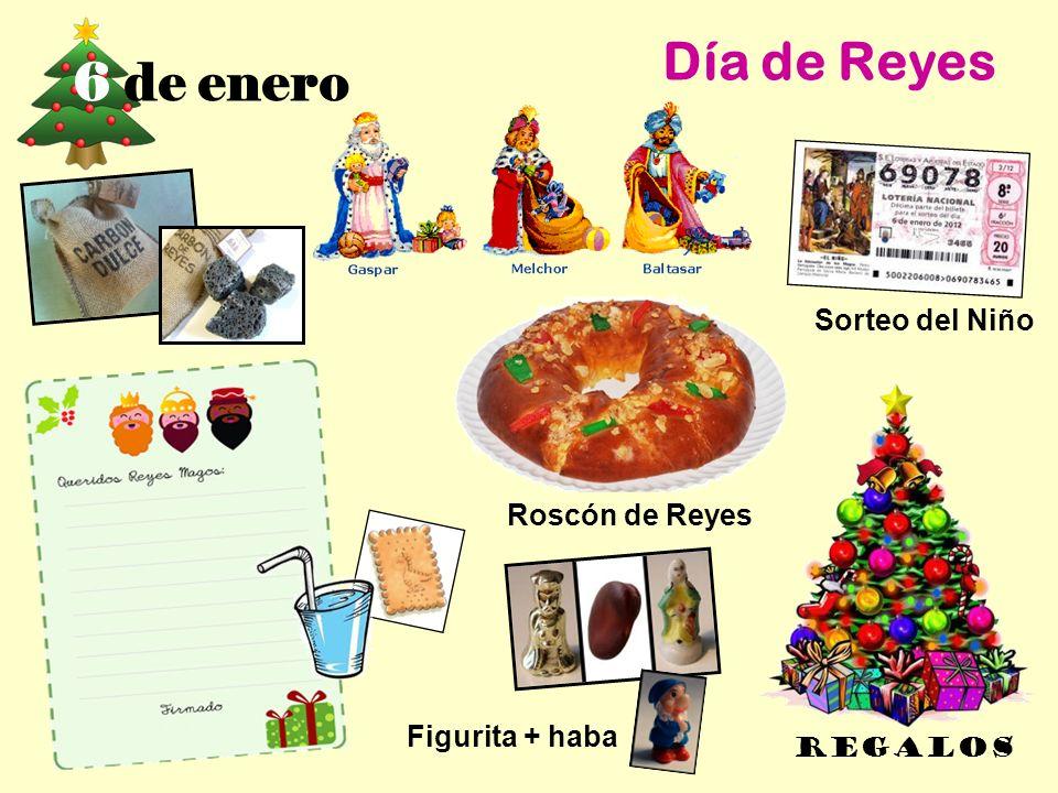 6 de enero Día de Reyes REGALOS Roscón de Reyes Sorteo del Niño Figurita + haba
