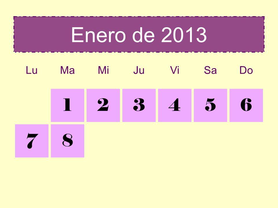 Diciembre 2012Enero 2013 LuMaMiJuViSaDo 2223 24252627282930 31 123456 78 Lotería Nochebuena Navidad Inocentes Reyes Año Nuevo Nochevieja Cabalgata de Reyes