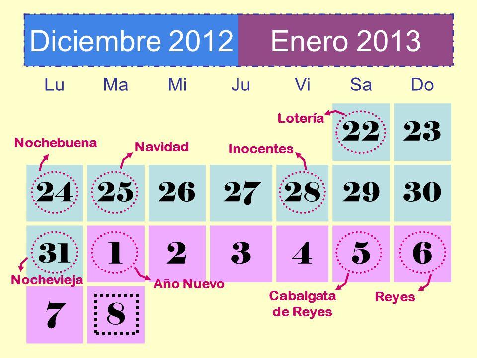 Diciembre 2012Enero 2013 LuMaMiJuViSaDo 2223 24252627282930 31 123456 78 Lotería Nochebuena Navidad Inocentes Reyes Año Nuevo Nochevieja Cabalgata de