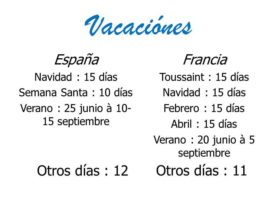 Vacaciónes España Navidad : 15 días Semana Santa : 10 días Verano : 25 junio à 10- 15 septiembre Francia Toussaint : 15 días Navidad : 15 días Febrero