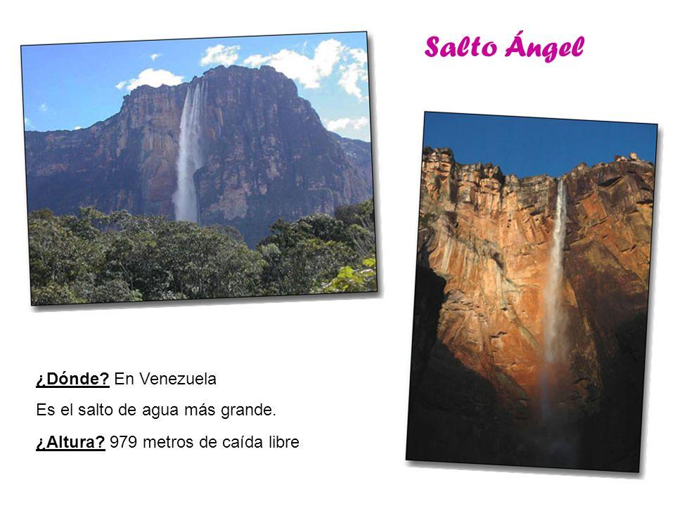 Salto Ángel ¿Dónde? En Venezuela Es el salto de agua más grande. ¿Altura? 979 metros de caída libre