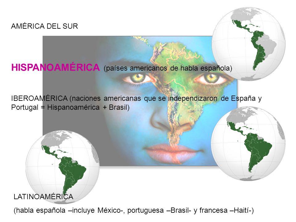 HISPANOAMÉRICA (países americanos de habla española) AMÉRICA DEL SUR IBEROAMÉRICA (naciones americanas que se independizaron de España y Portugal = Hi