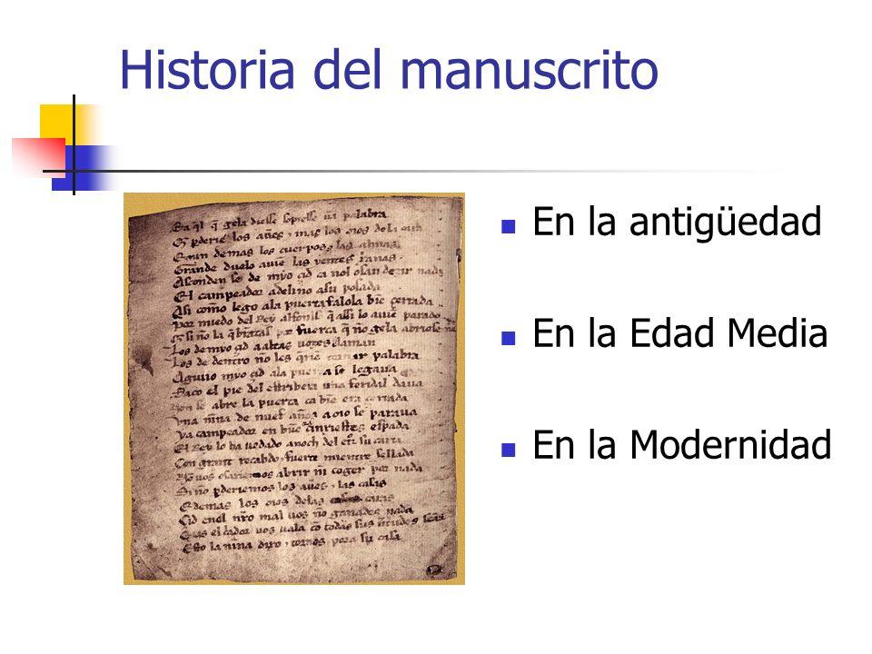 Historia del manuscrito En la antigüedad En la Edad Media En la Modernidad