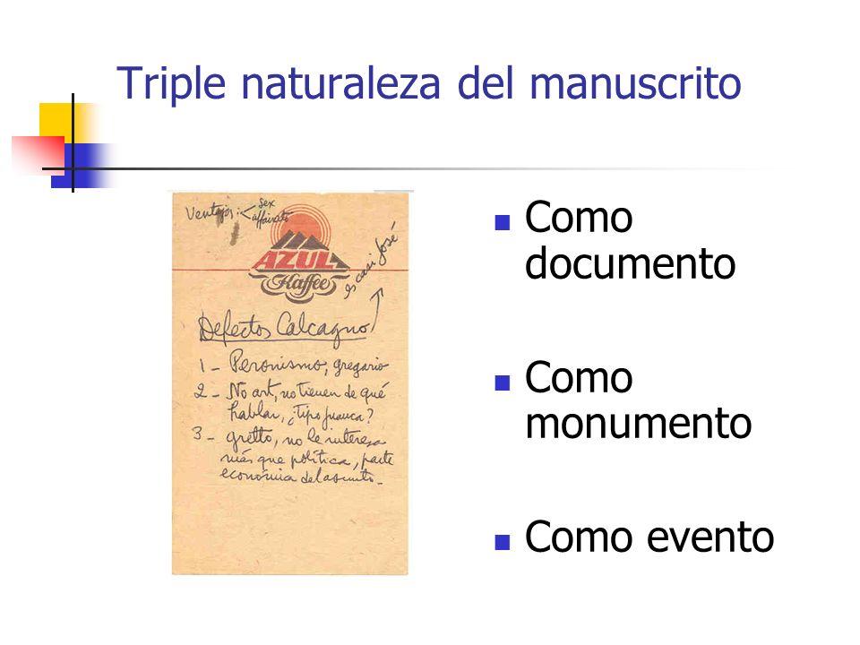 Triple naturaleza del manuscrito Como documento Como monumento Como evento