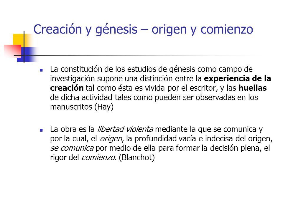 Creación y génesis – origen y comienzo La constitución de los estudios de génesis como campo de investigación supone una distinción entre la experienc