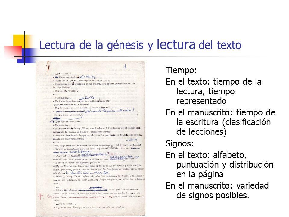 Lectura de la génesis y lectura del texto Tiempo: En el texto: tiempo de la lectura, tiempo representado En el manuscrito: tiempo de la escritura (cla