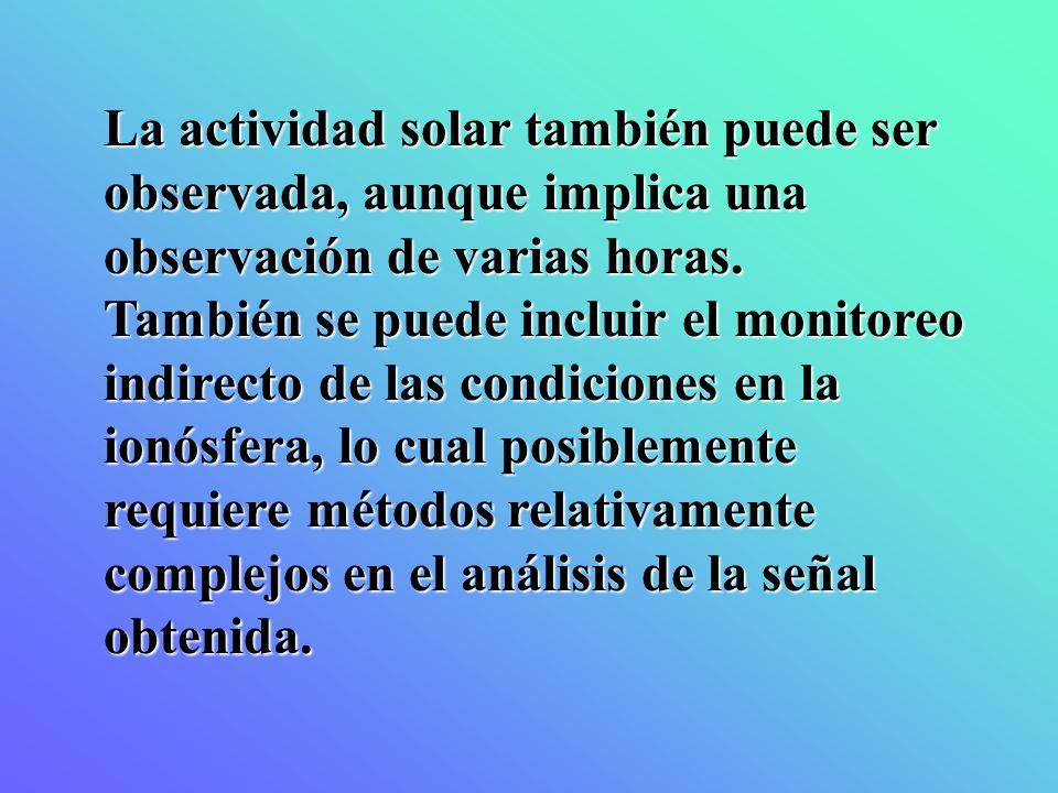 La actividad solar también puede ser observada, aunque implica una observación de varias horas. También se puede incluir el monitoreo indirecto de las