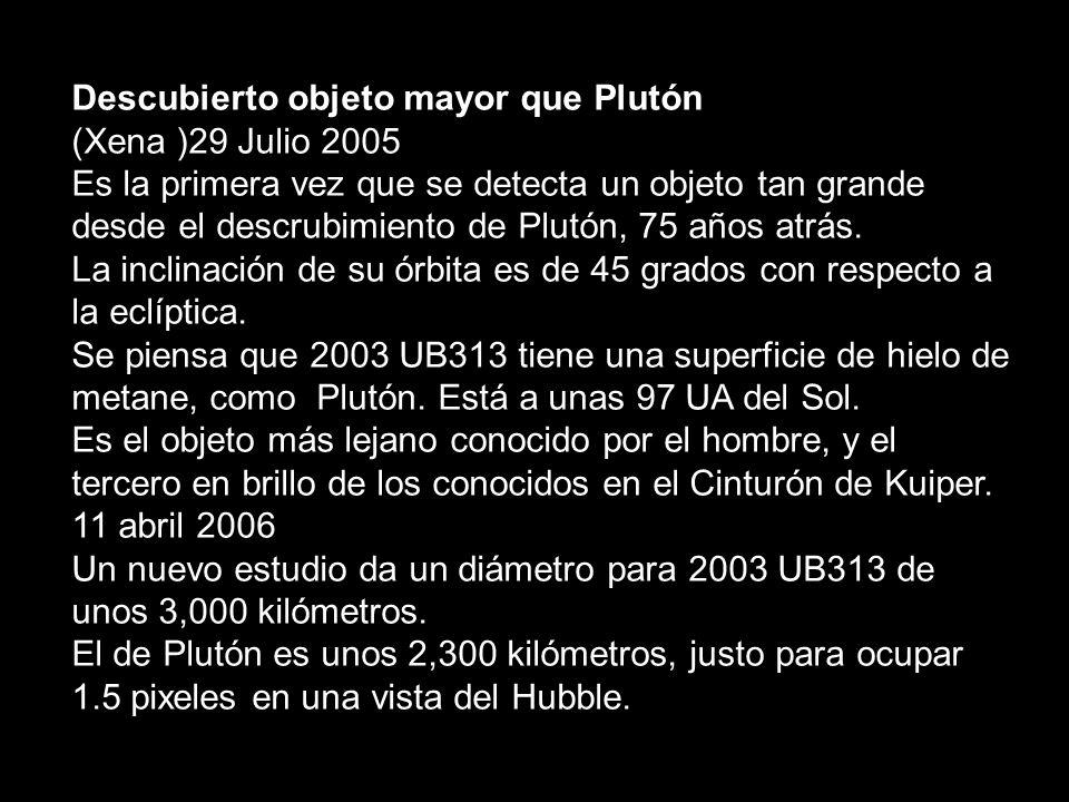 Descubierto objeto mayor que Plutón (Xena )29 Julio 2005 Es la primera vez que se detecta un objeto tan grande desde el descrubimiento de Plutón, 75 a