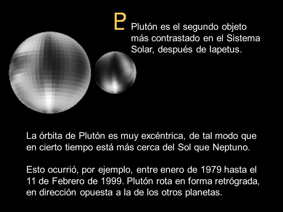 Plutón es el segundo objeto más contrastado en el Sistema Solar, después de Iapetus. La órbita de Plutón es muy excéntrica, de tal modo que en cierto