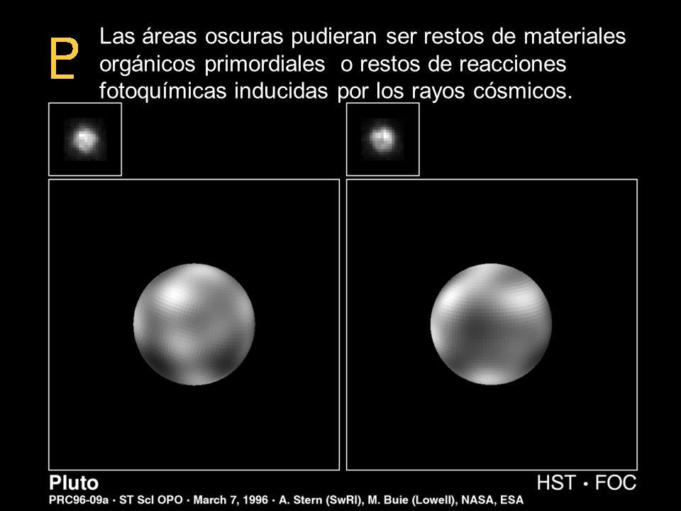 Mapa de Plutón Las áreas oscuras pudieran ser restos de materiales orgánicos primordiales o restos de reacciones fotoquímicas inducidas por los rayos