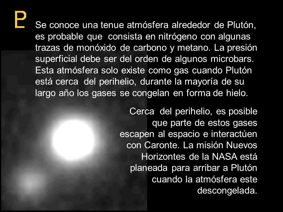 Se conoce una tenue atmósfera alrededor de Plutón, es probable que consista en nitrógeno con algunas trazas de monóxido de carbono y metano. La presió