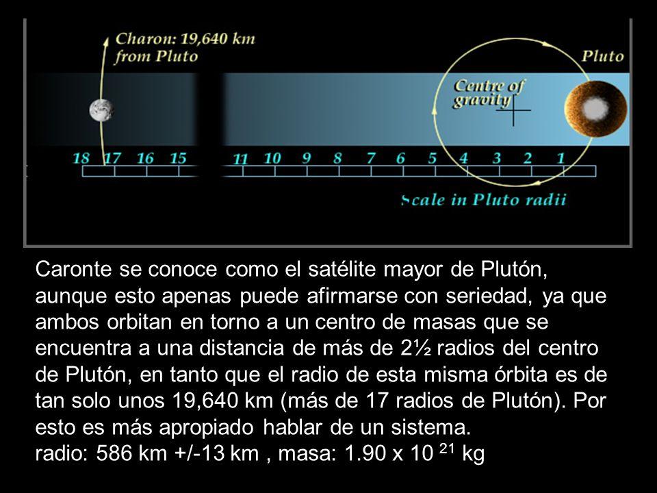 Caronte se conoce como el satélite mayor de Plutón, aunque esto apenas puede afirmarse con seriedad, ya que ambos orbitan en torno a un centro de masa