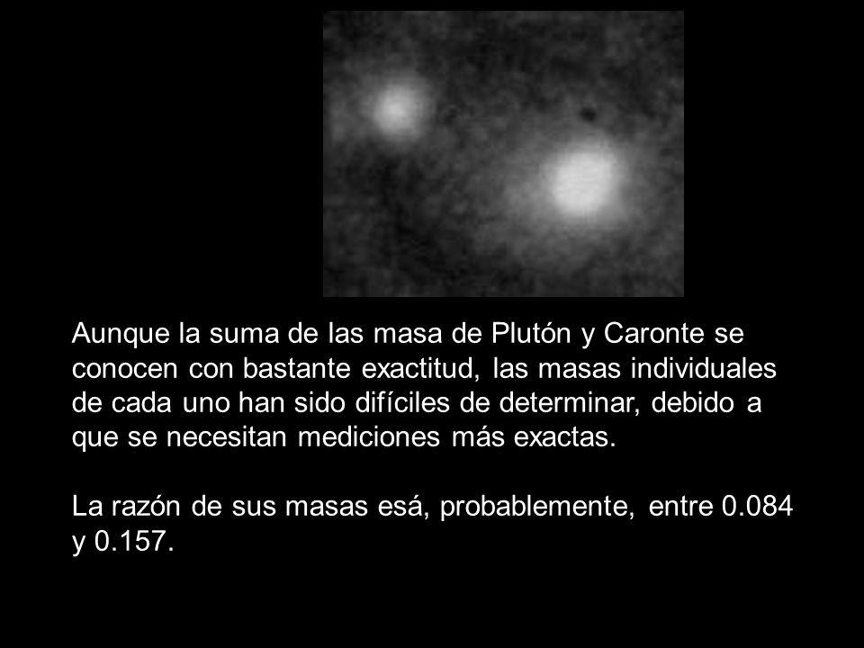 Aunque la suma de las masa de Plutón y Caronte se conocen con bastante exactitud, las masas individuales de cada uno han sido difíciles de determinar,
