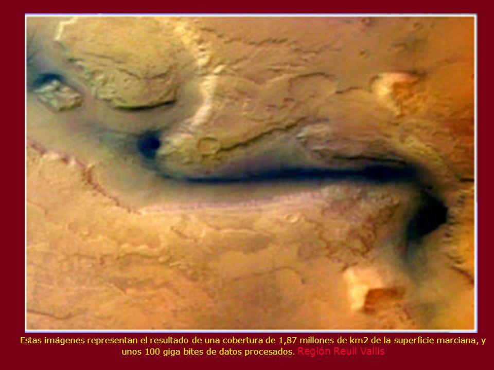 Estas imágenes representan el resultado de una cobertura de 1,87 millones de km2 de la superficie marciana, y unos 100 giga bites de datos procesados.