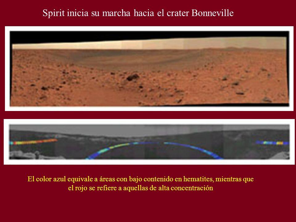 Spirit inicia su marcha hacia el crater Bonneville El color azul equivale a áreas con bajo contenido en hematites, mientras que el rojo se refiere a a