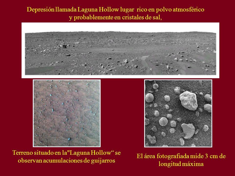 Depresión llamada Laguna Hollow lugar rico en polvo atmosférico y probablemente en cristales de sal, Terreno situado en la