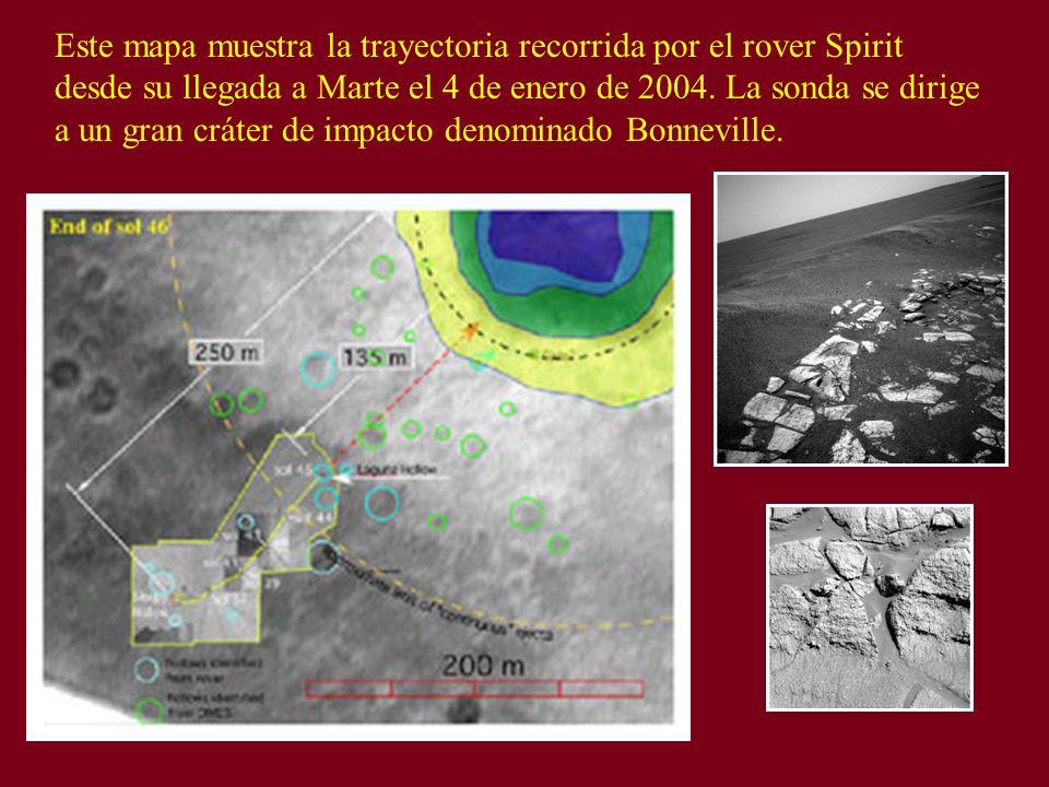 Este mapa muestra la trayectoria recorrida por el rover Spirit desde su llegada a Marte el 4 de enero de 2004. La sonda se dirige a un gran cráter de