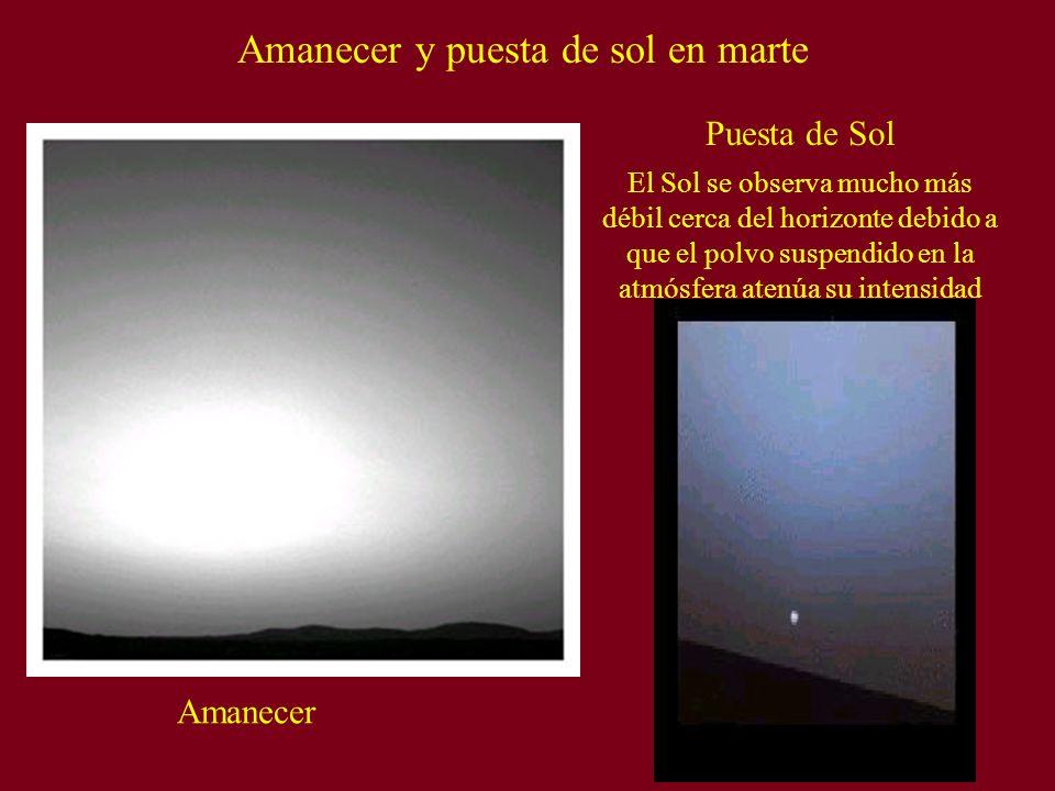 Amanecer y puesta de sol en marte Amanecer Puesta de Sol El Sol se observa mucho más débil cerca del horizonte debido a que el polvo suspendido en la