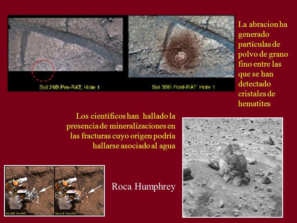 Roca Humphrey Los científicos han hallado la presencia de mineralizaciones en las fracturas cuyo origen podría hallarse asociado al agua La abracion h