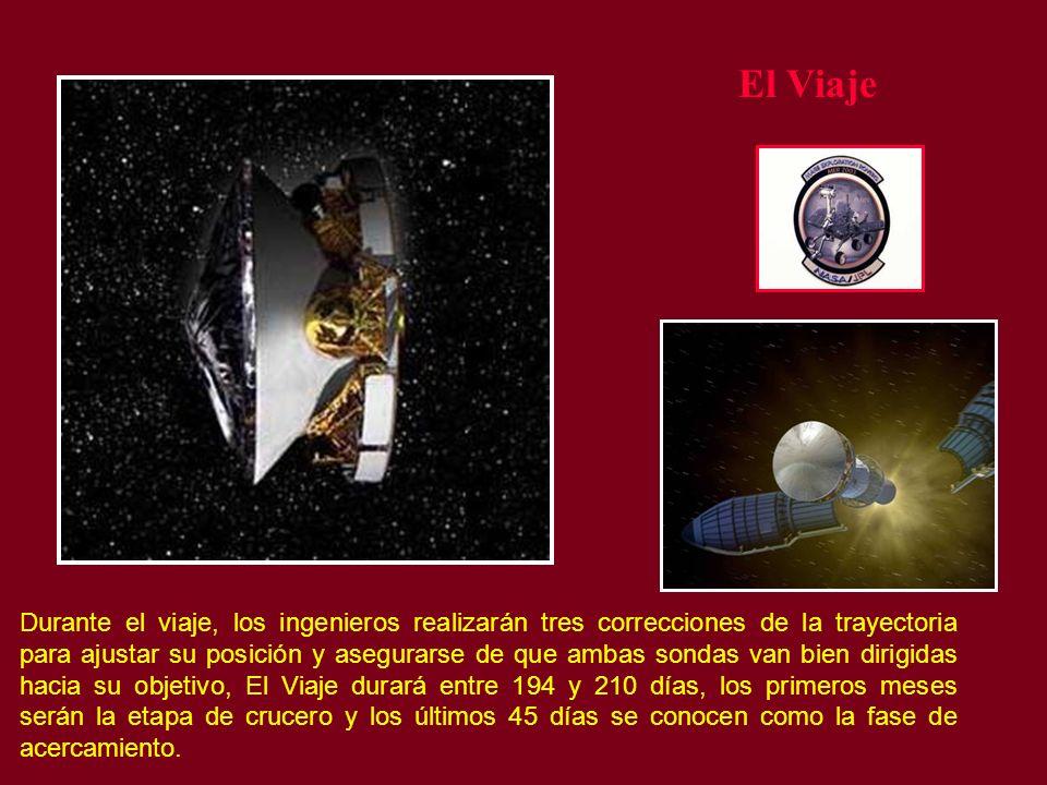 El Viaje Durante el viaje, los ingenieros realizarán tres correcciones de la trayectoria para ajustar su posición y asegurarse de que ambas sondas van