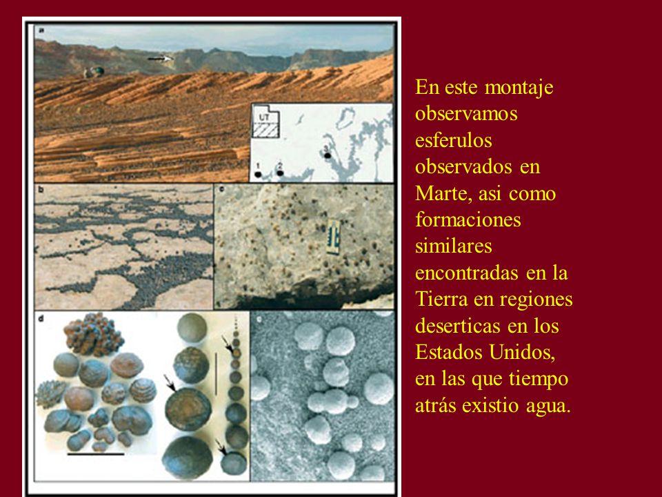 En este montaje observamos esferulos observados en Marte, asi como formaciones similares encontradas en la Tierra en regiones deserticas en los Estado