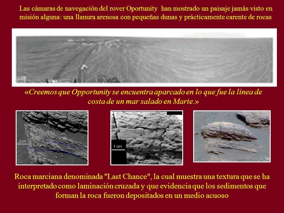 Las cámaras de navegación del rover Oportunity han mostrado un paisaje jamás visto en misión alguna: una llanura arenosa con pequeñas dunas y práctica