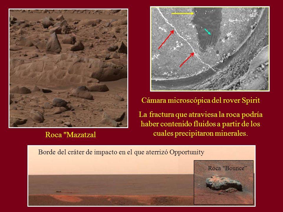 Roca Mazatzal Cámara microscópica del rover Spirit La fractura que atraviesa la roca podría haber contenido fluidos a partir de los cuales precipitaron minerales.
